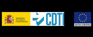 Pixelabs logos CDTI y emblema UE